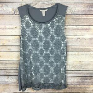 Banana Republic Medium Gray Ivory Crochet Tank Top
